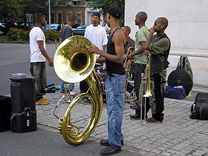 Horn player in Washington Square by David Shankbone.jpg